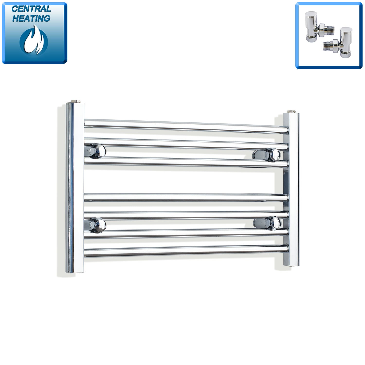 600mm Wide 400mm High Chrome Towel Rail Radiator With Angled Valve