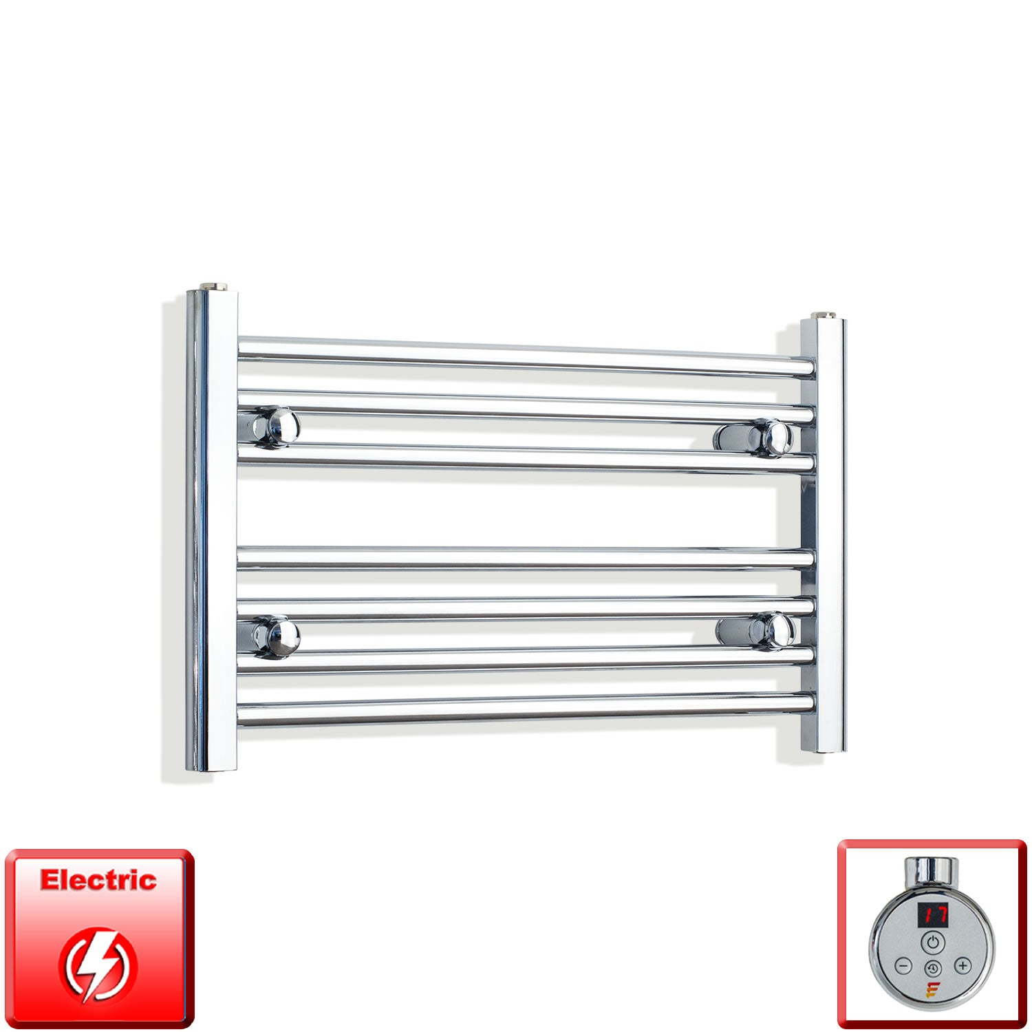 650mm Wide 400mm High Pre-Filled Chrome Electric Towel Rail Radiator With Thermostatic DIGI Element