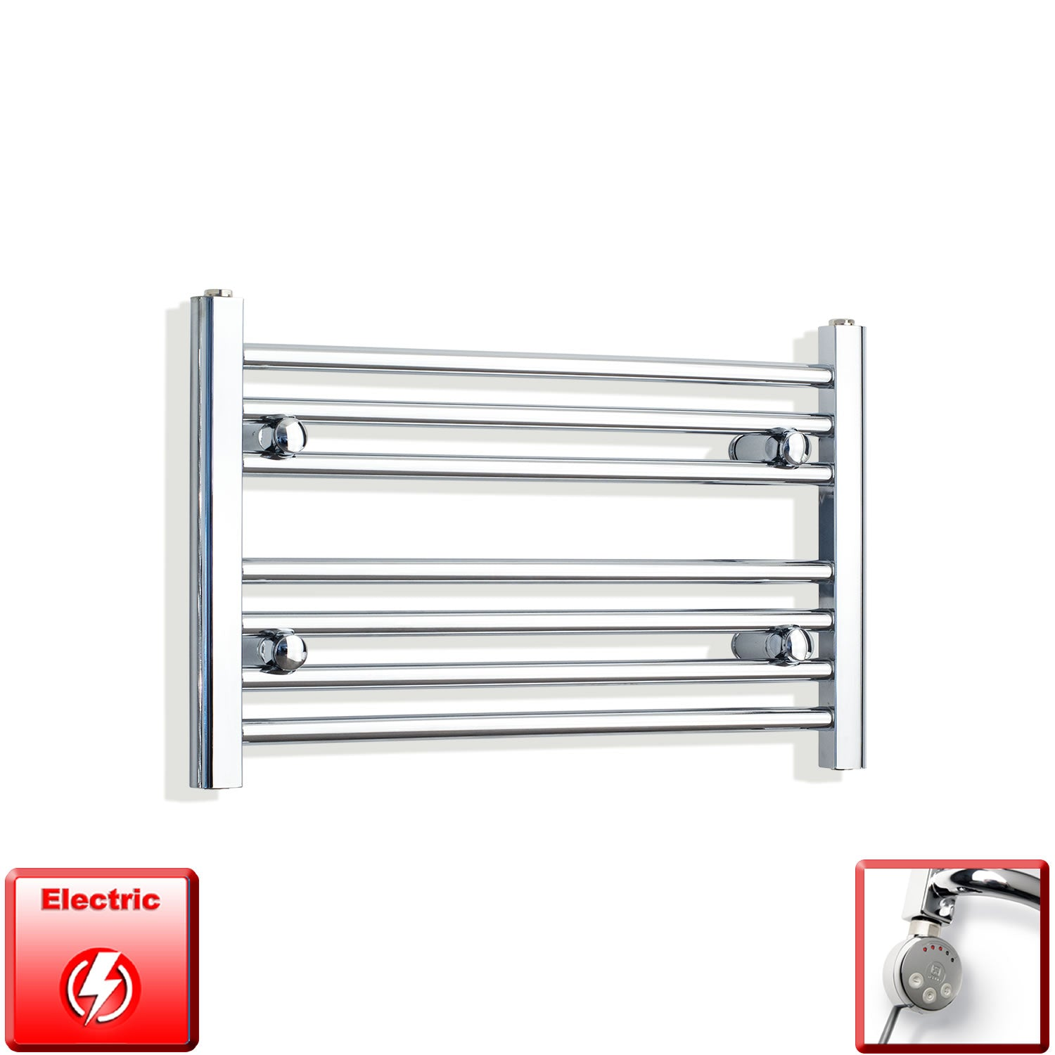 650mm Wide 400mm High Pre-Filled Chrome Electric Towel Rail Radiator With Thermostatic MEG Element