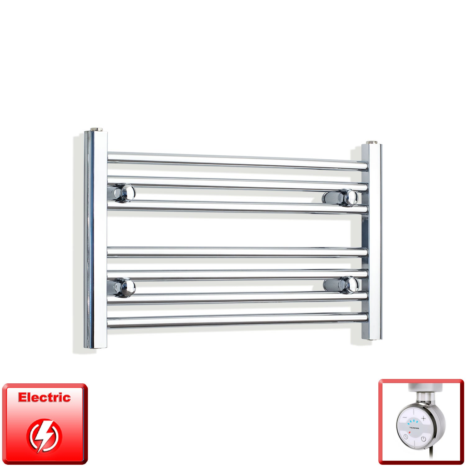 650mm Wide 400mm High Pre-Filled Chrome Electric Towel Rail Radiator With Thermostatic MOA Element