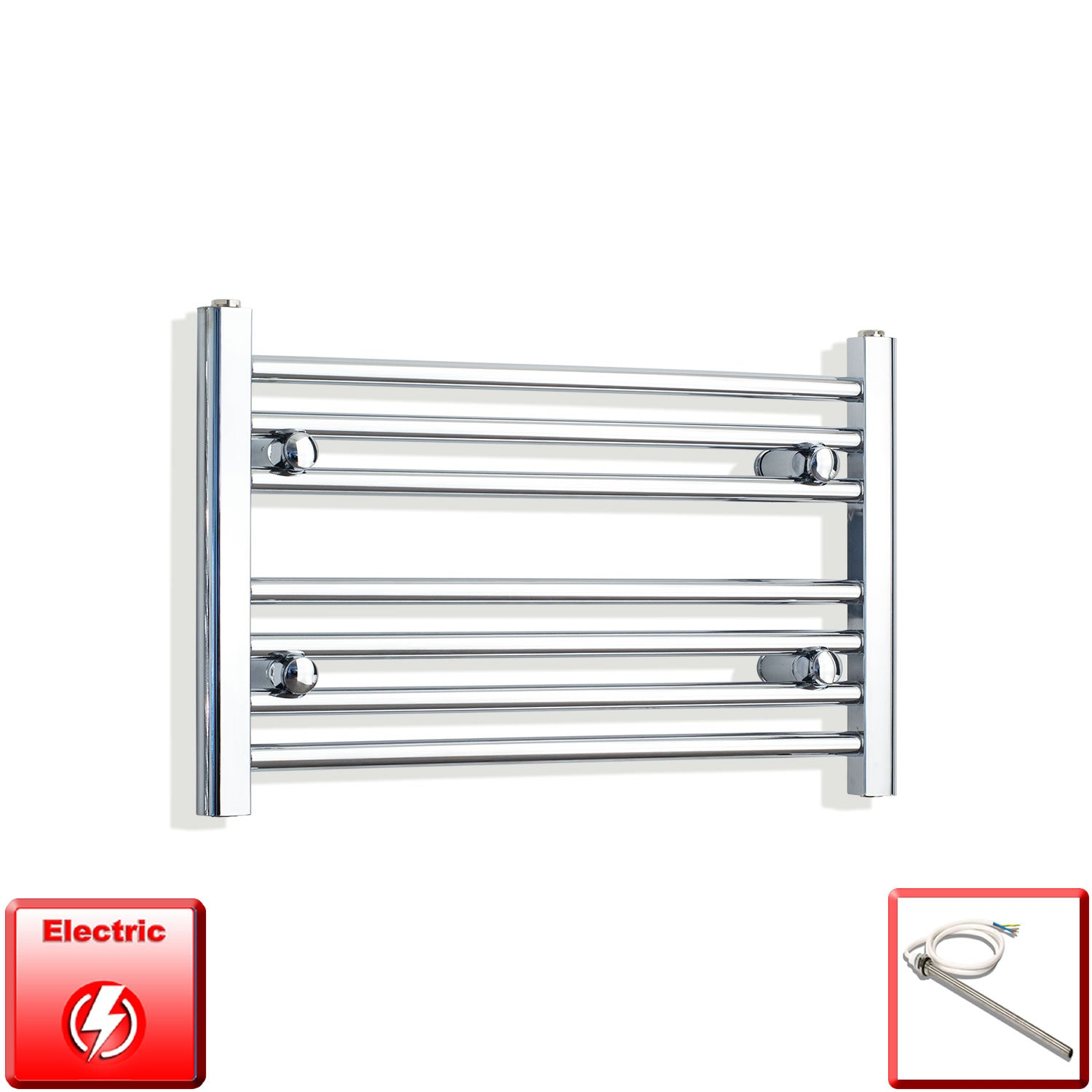 650mm Wide 400mm High Pre-Filled Chrome Electric Towel Rail Radiator With Single Heat Element