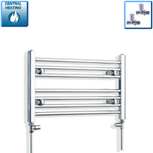 Load image into Gallery viewer, 600mm Wide 400mm High Chrome Towel Rail Radiator With Straight Valve