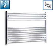Load image into Gallery viewer, 1000mm Wide 700mm High Chrome Towel Rail Radiator With Angled Valve