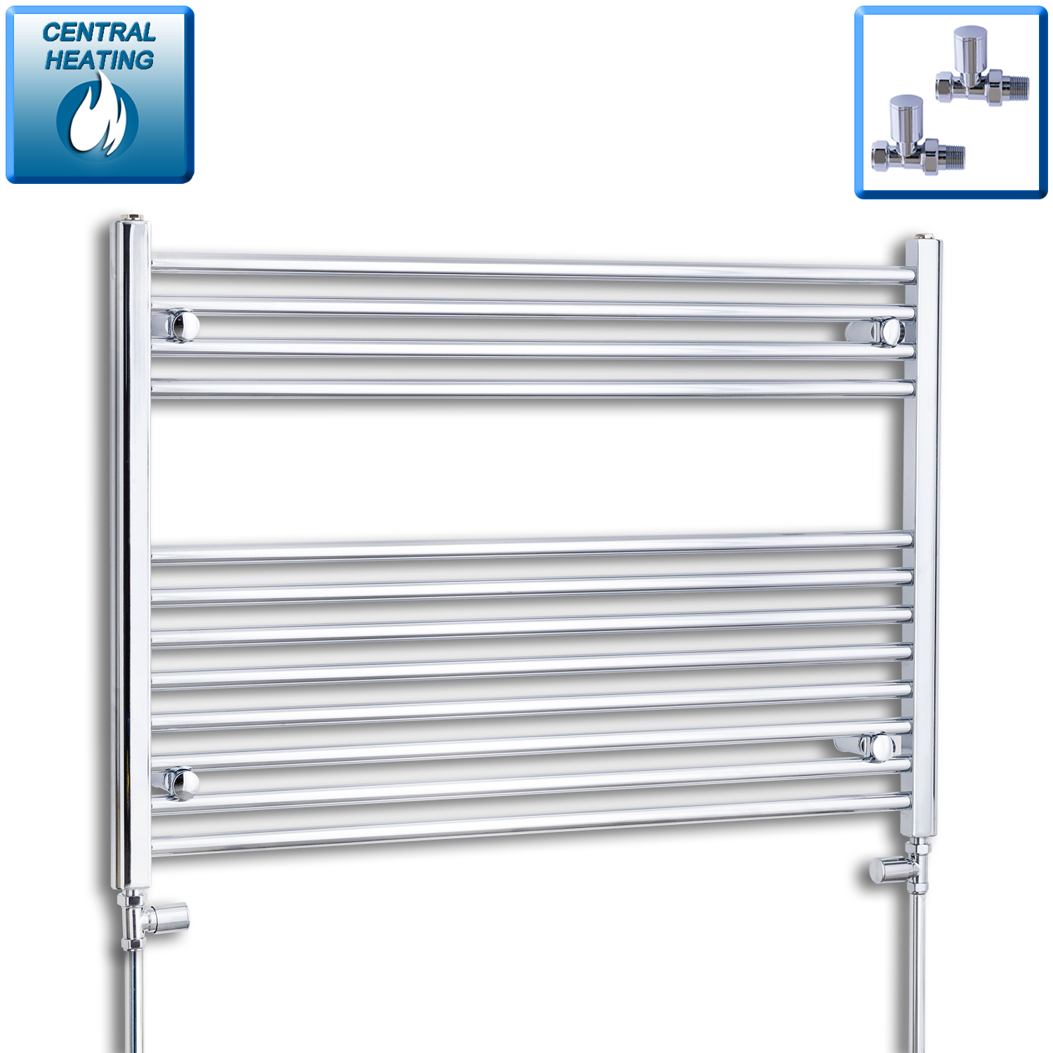 1000mm Wide 700mm High Chrome Towel Rail Radiator With Straight Valve