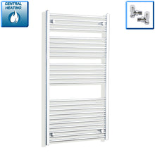Load image into Gallery viewer, 750mm Wide 1300mm High Chrome Towel Rail Radiator With Angled Valve