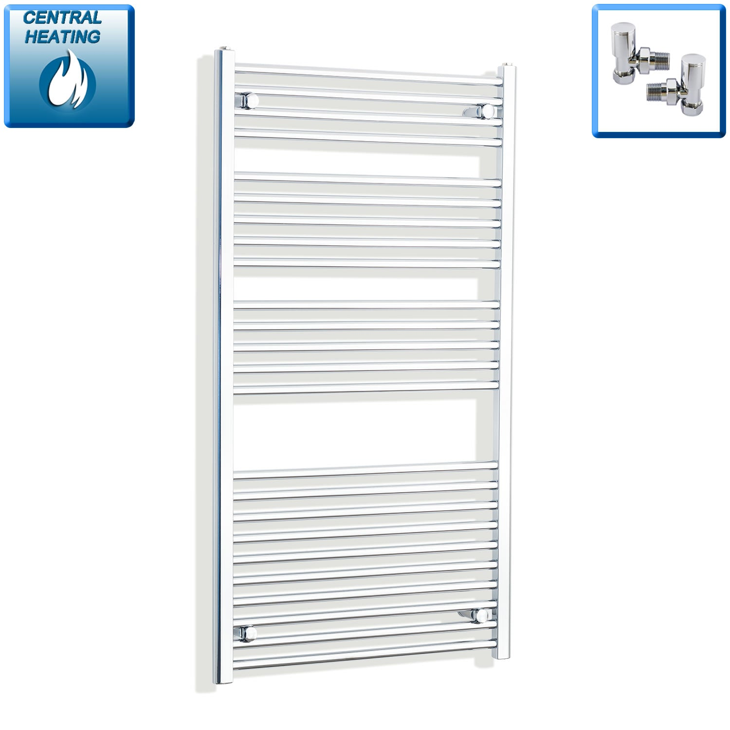 750mm Wide 1300mm High Chrome Towel Rail Radiator With Angled Valve