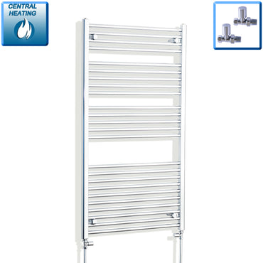 750mm Wide 1300mm High Chrome Towel Rail Radiator With Straight Valve