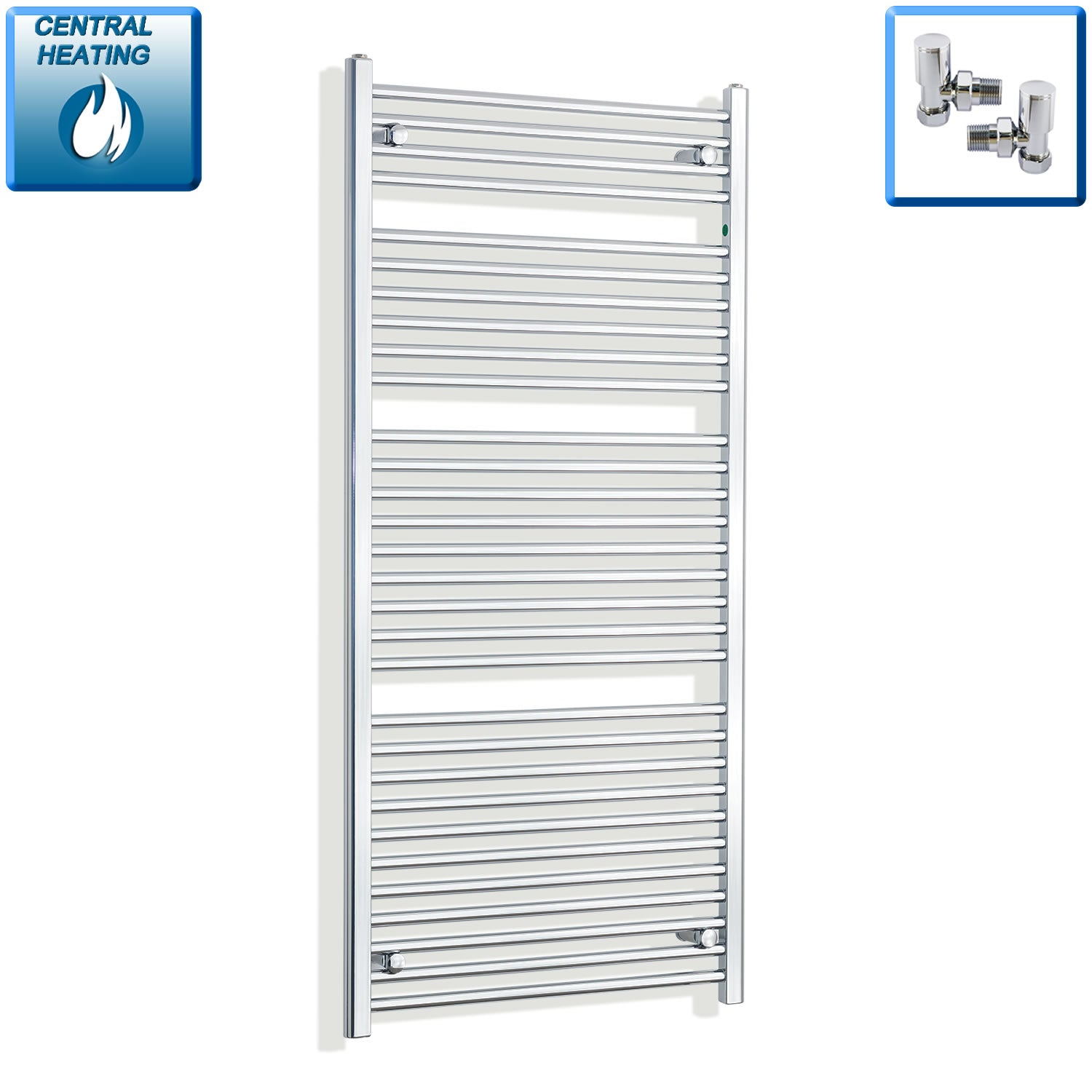700mm Wide 1500mm High Chrome Towel Rail Radiator With Angled Valve