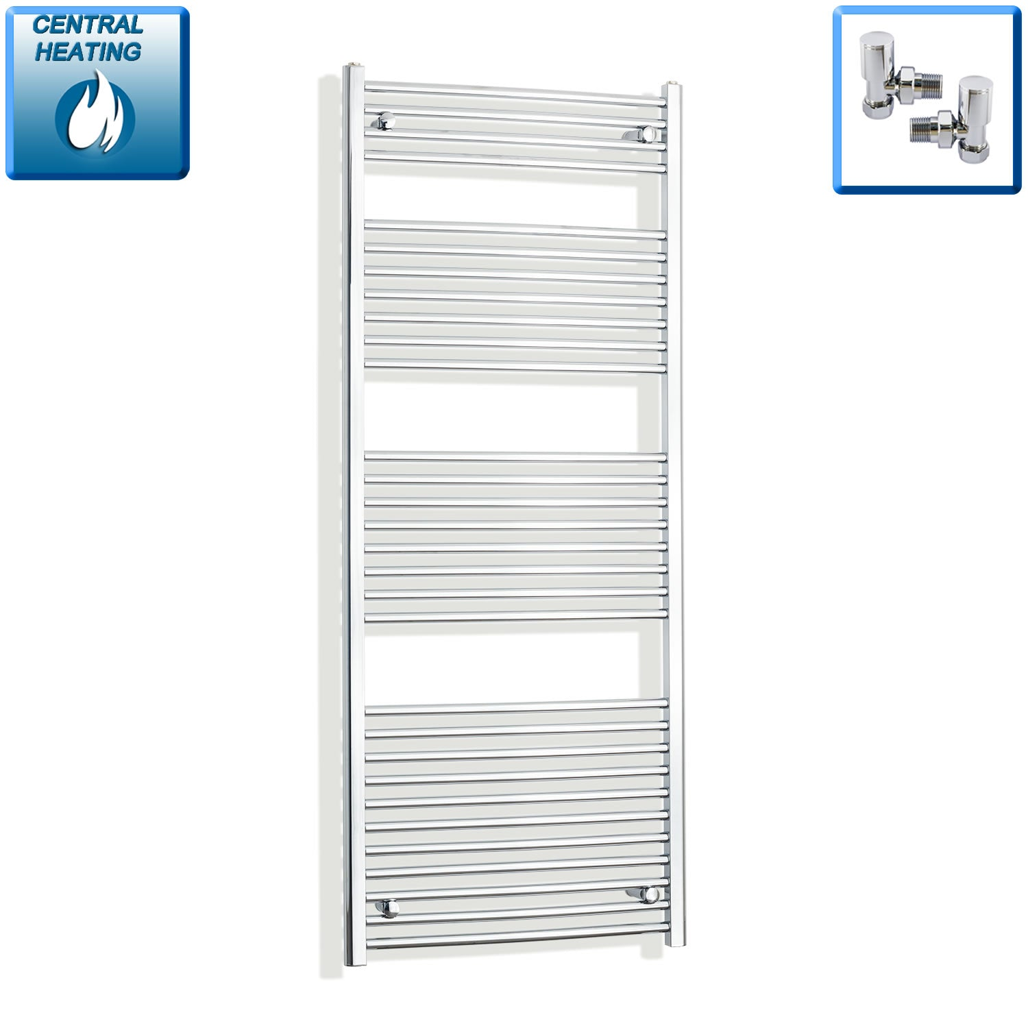 700mm x 1700mm High Curved Chrome Towel Rail Radiator With Angled Valve
