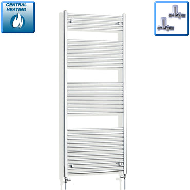 700mm Wide 1700mm High Chrome Towel Rail Radiator With Straight Valve