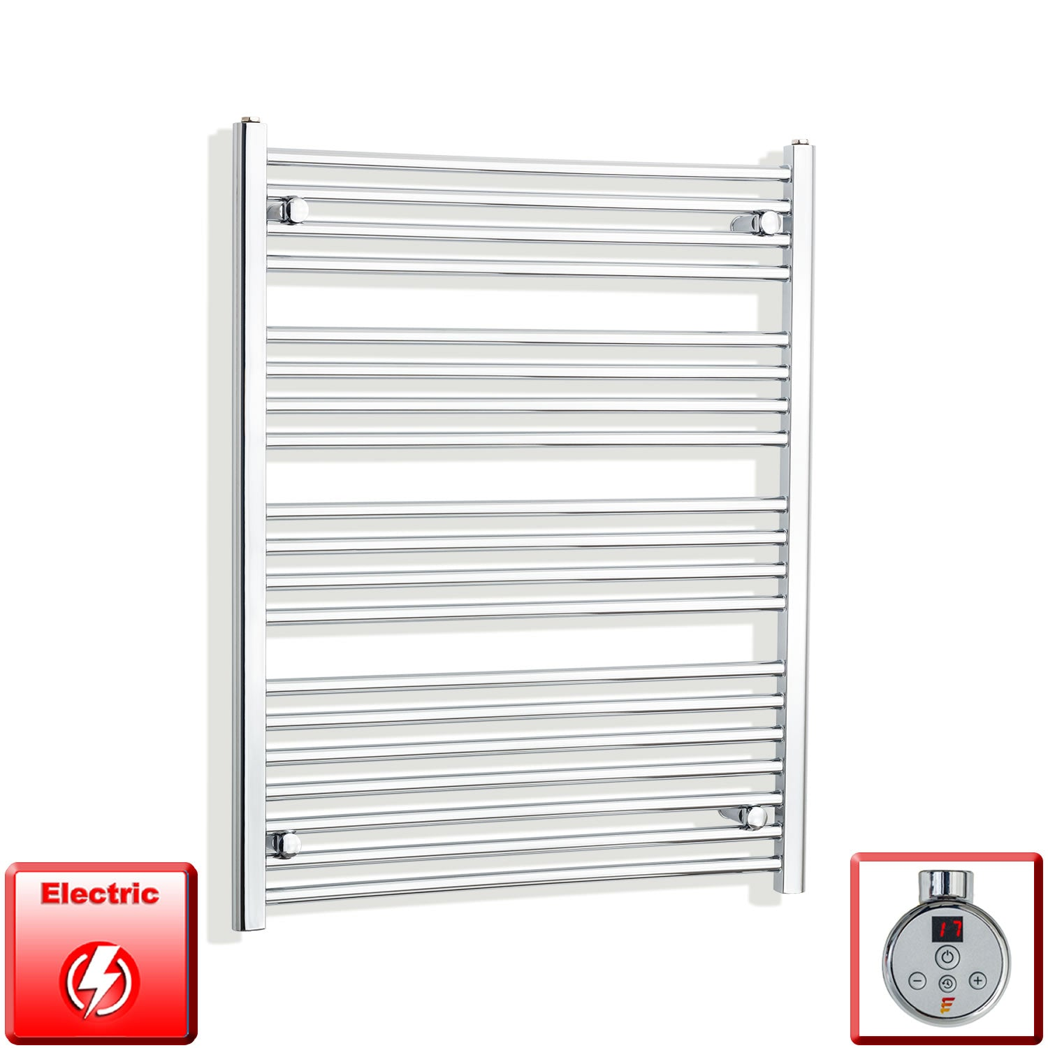 800mm Wide 1000mm High Pre-Filled Chrome Electric Towel Rail Radiator With Thermostatic DIGI Element