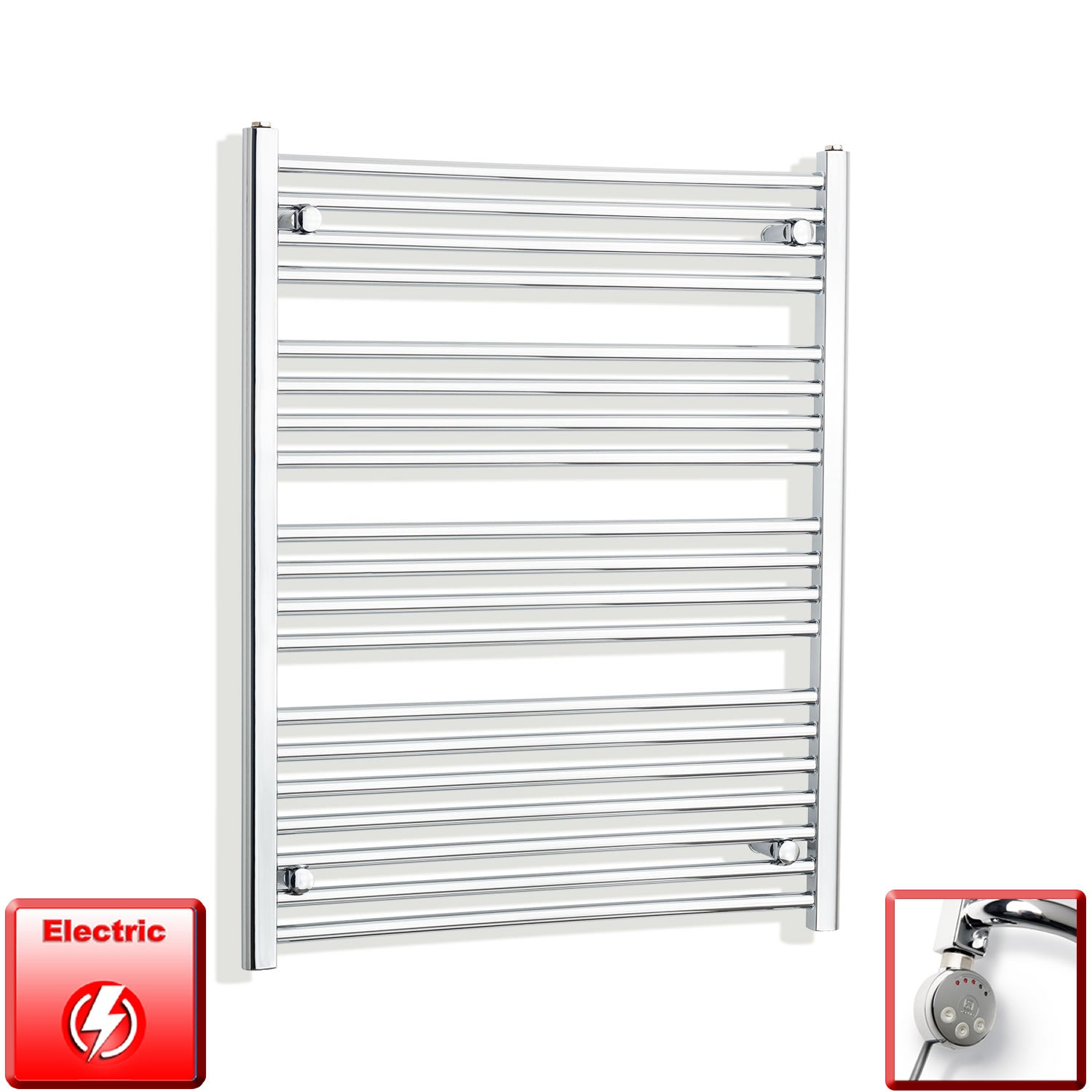 800mm Wide 1000mm High Pre-Filled Chrome Electric Towel Rail Radiator With Thermostatic MEG Element