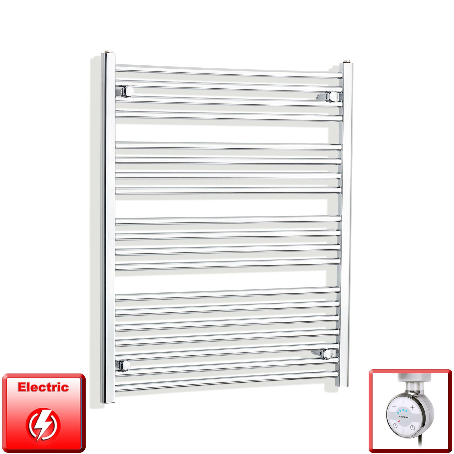 800mm Wide 1000mm High Pre-Filled Chrome Electric Towel Rail Radiator With Thermostatic MOA Element