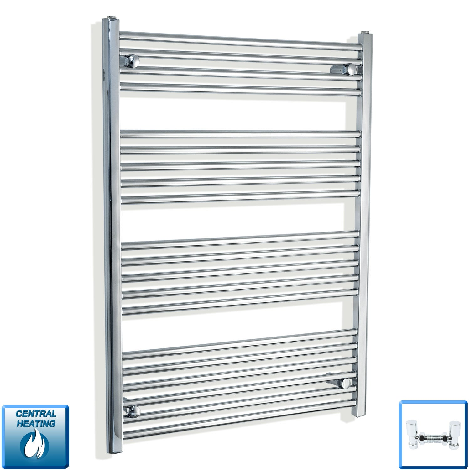 900mm Wide 1100mm High Chrome Towel Rail Radiator With Angled Valve