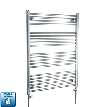 750mm Wide 1100mm High Chrome Towel Rail Radiator With Straight Valve