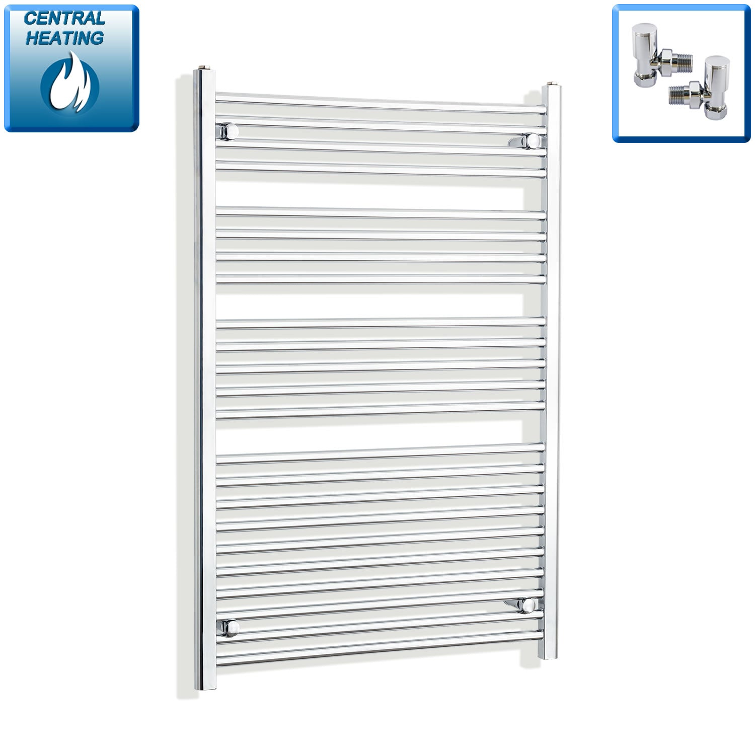 850mm Wide 1200mm High Chrome Towel Rail Radiator With Angled Valve