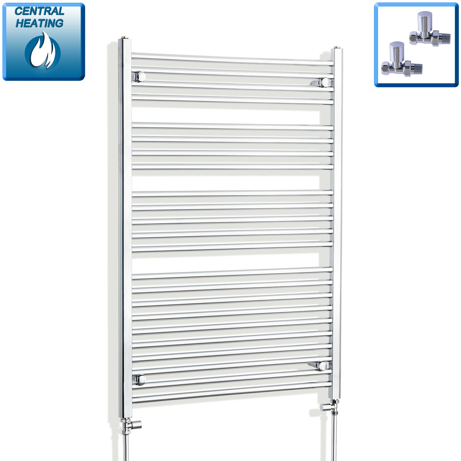 850mm Wide 1200mm High Chrome Towel Rail Radiator With Straight Valve