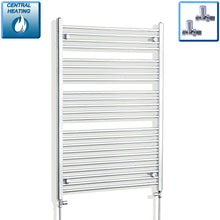 Load image into Gallery viewer, 900mm Wide 1200mm High Chrome Towel Rail Radiator With Straight Valve