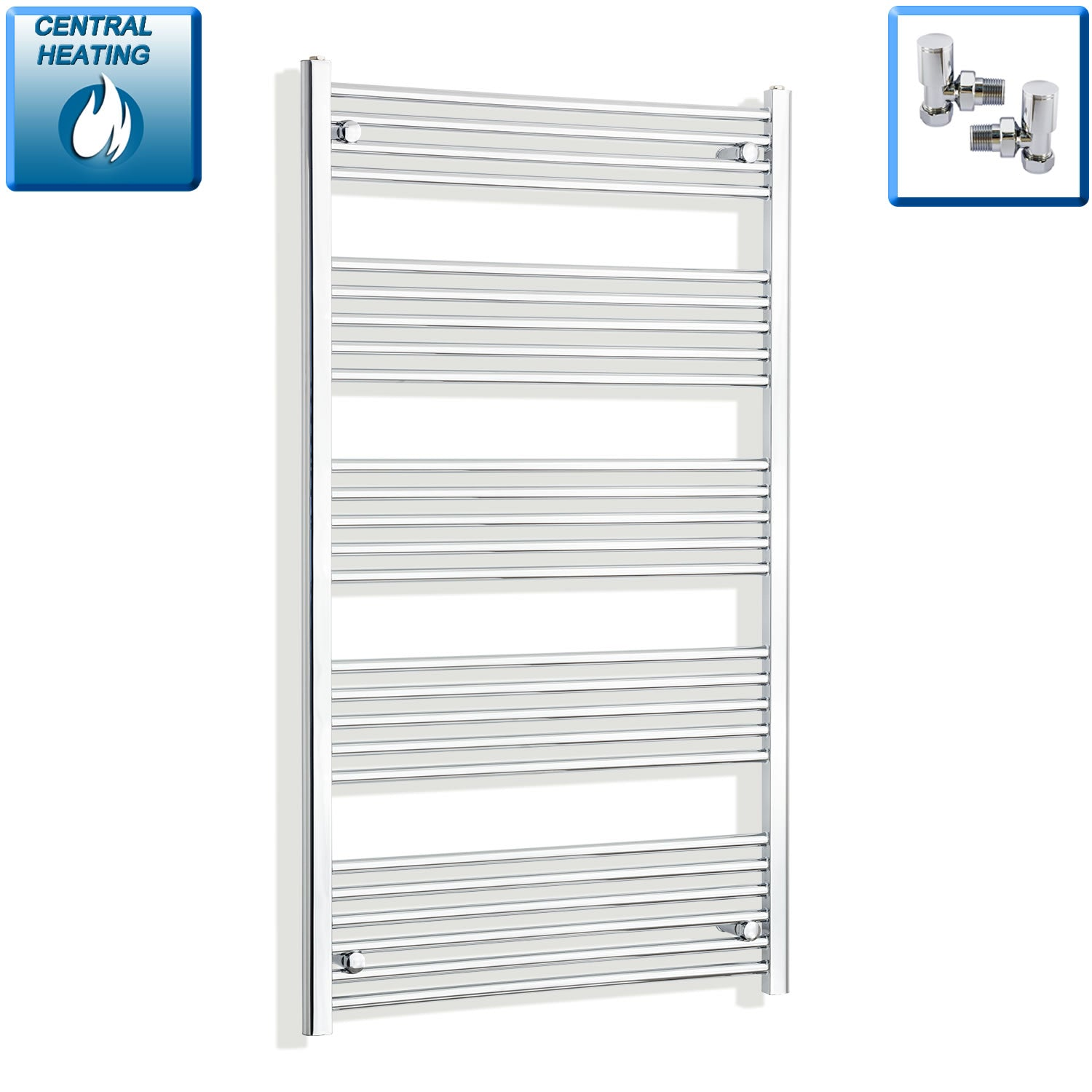 750mm Wide 1400mm High Chrome Towel Rail Radiator With Angled Valve