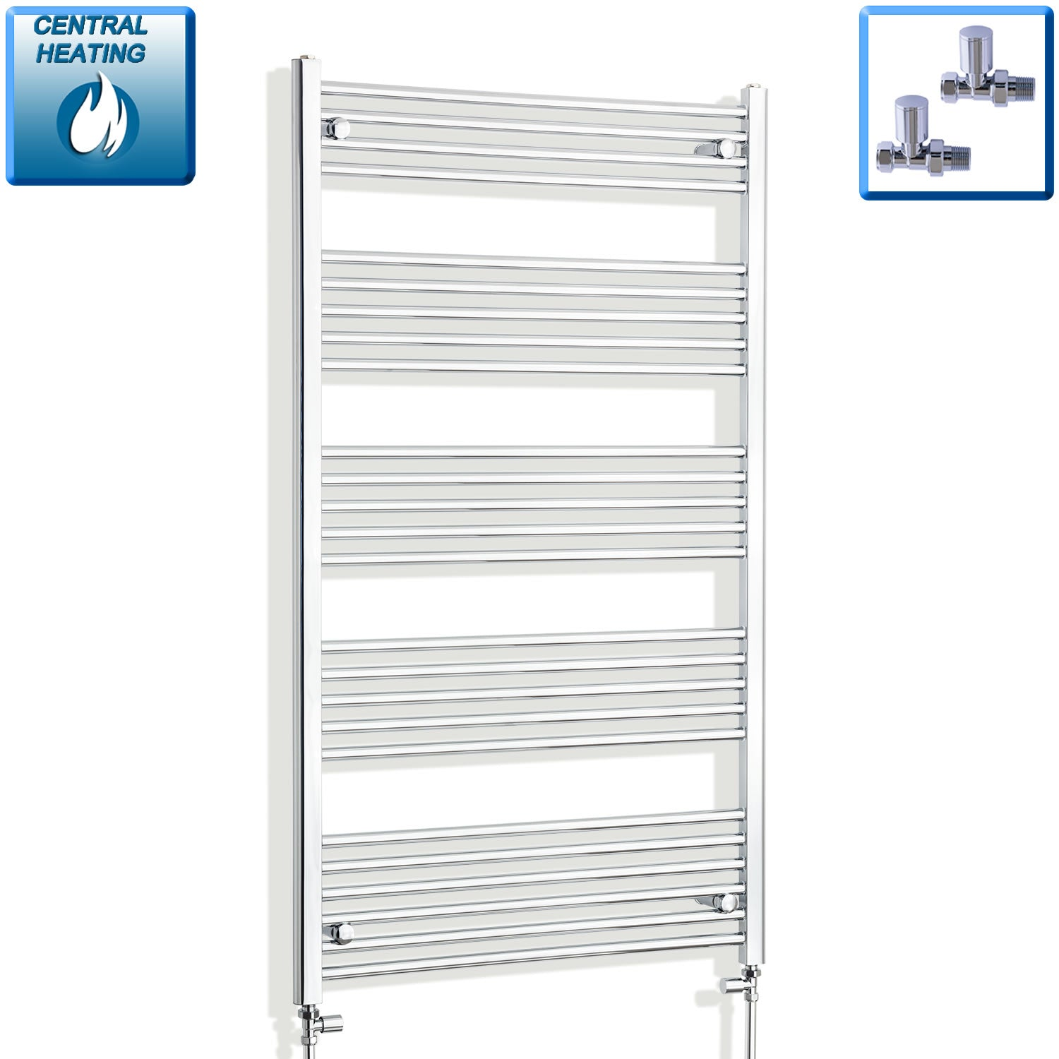 750mm Wide 1400mm High Chrome Towel Rail Radiator With Straight Valve