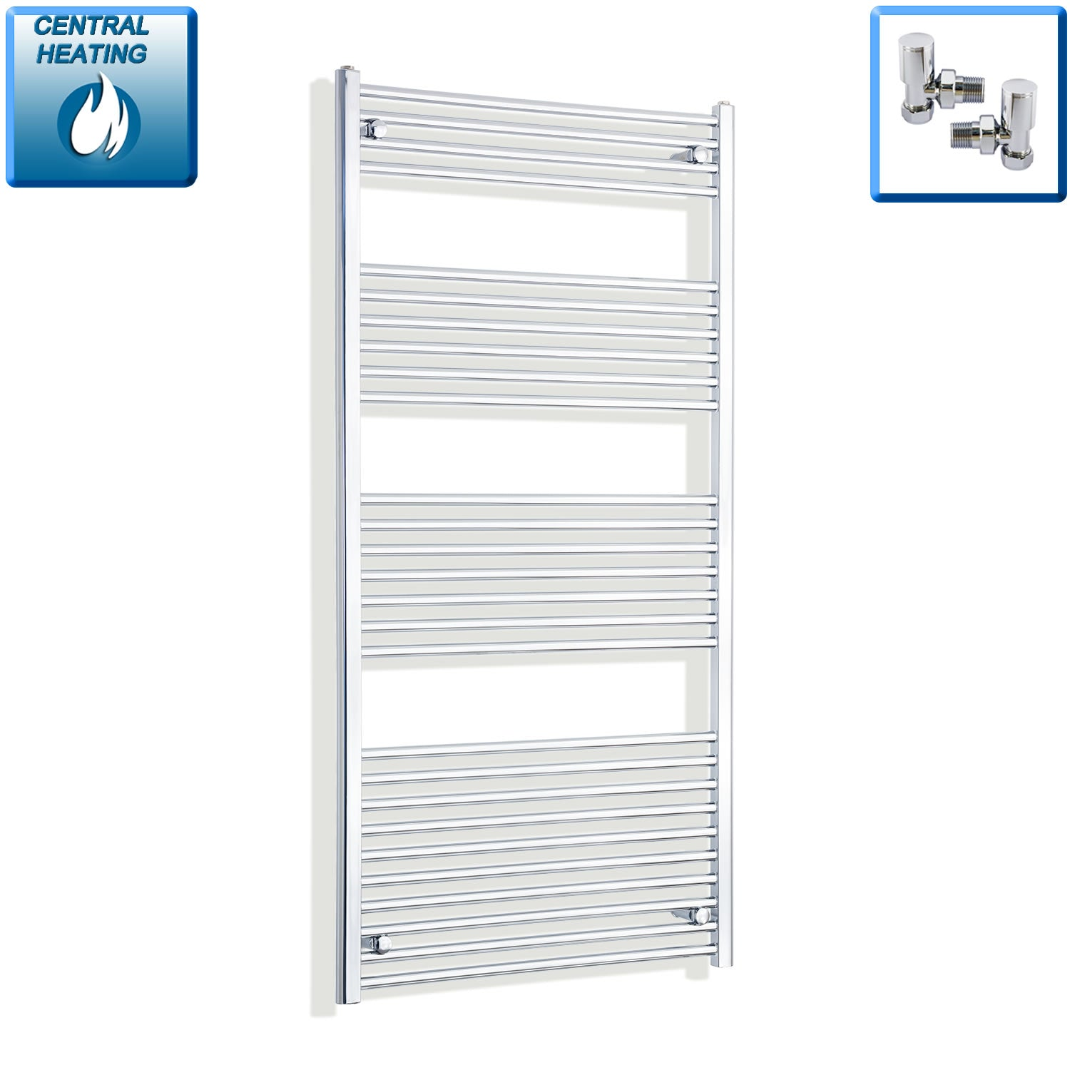 850mm Wide 1600mm High Chrome Towel Rail Radiator With Angled Valve