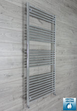 Load image into Gallery viewer, 850mm Wide 1800mm High Chrome Towel Rail Radiator With Angled Valve