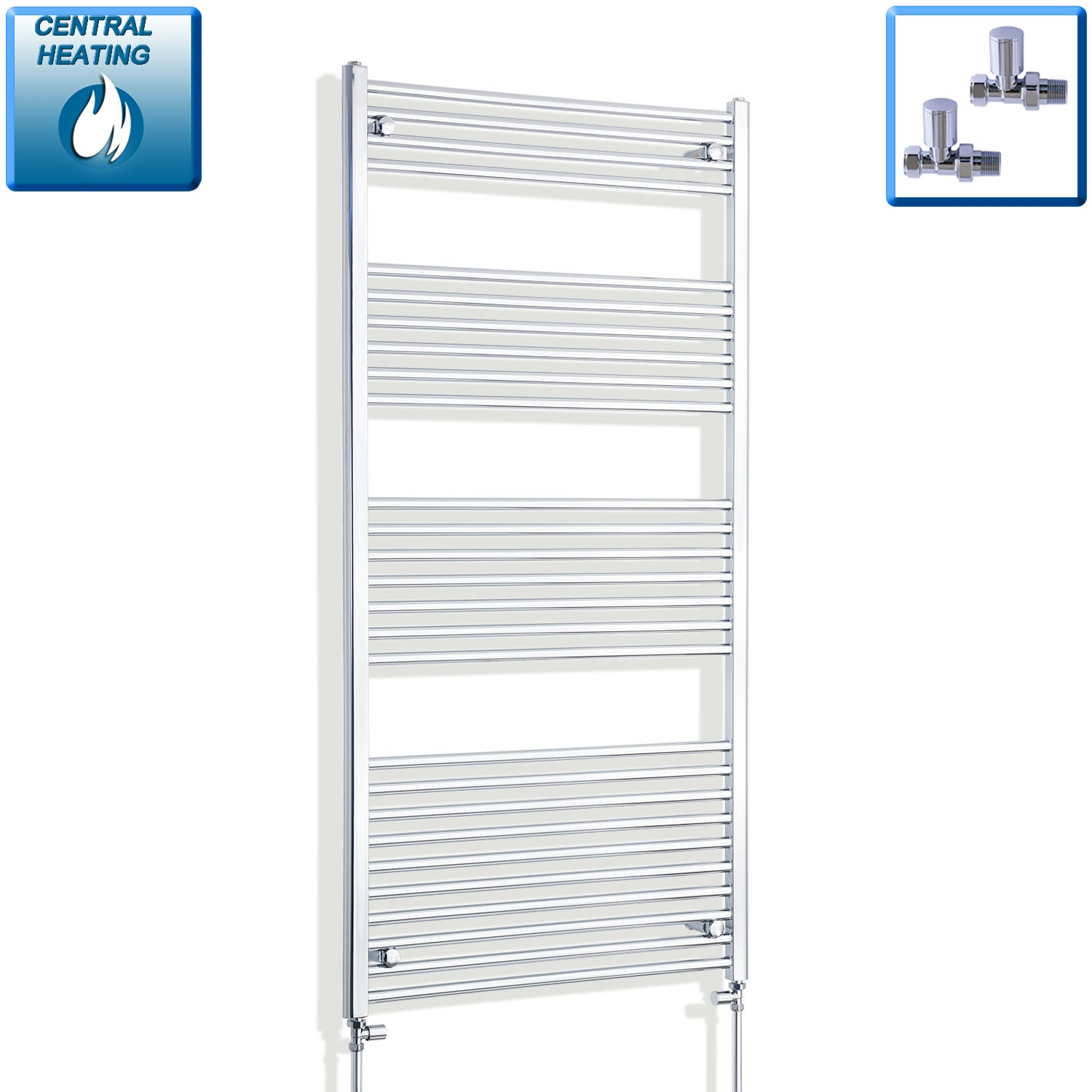 850mm Wide 1600mm High Chrome Towel Rail Radiator With Straight Valve