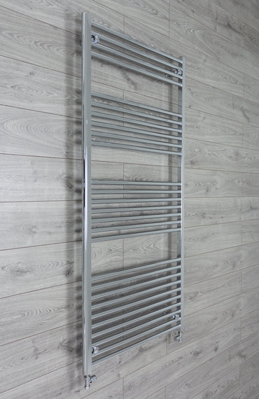 800mm Wide 1800mm High Chrome Towel Rail Radiator With Straight Valve