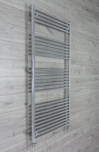 Load image into Gallery viewer, 850mm Wide 1800mm High Chrome Towel Rail Radiator With Straight Valve