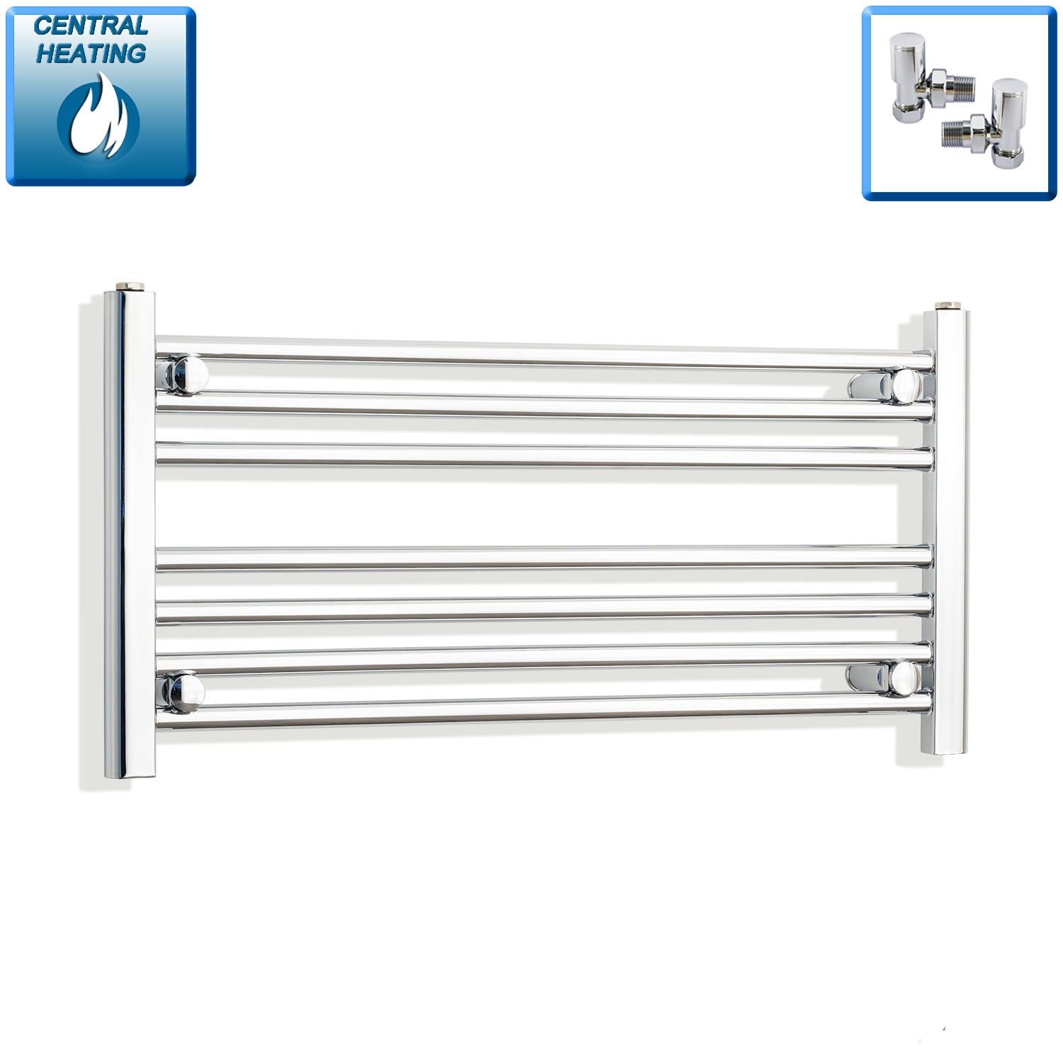 850mm Wide 400mm High Chrome Towel Rail Radiator With Angled Valve