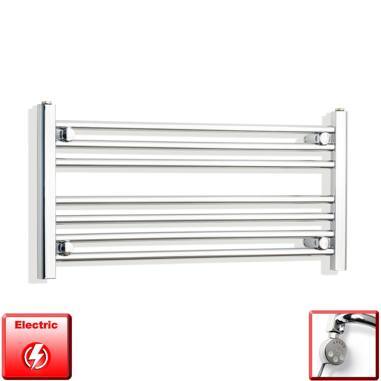 850mm Wide 400mm High Pre-Filled Chrome Electric Towel Rail Radiator With Thermostatic MEG Element