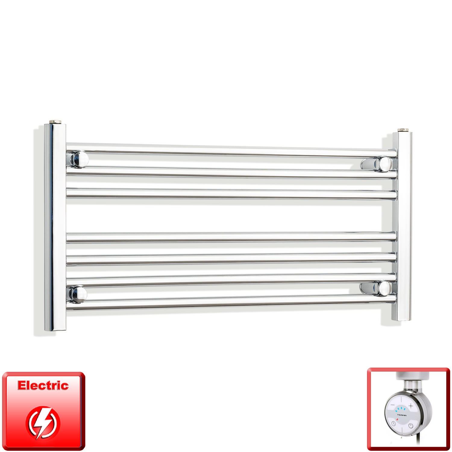 850mm Wide 400mm High Pre-Filled Chrome Electric Towel Rail Radiator With Thermostatic MOA Element