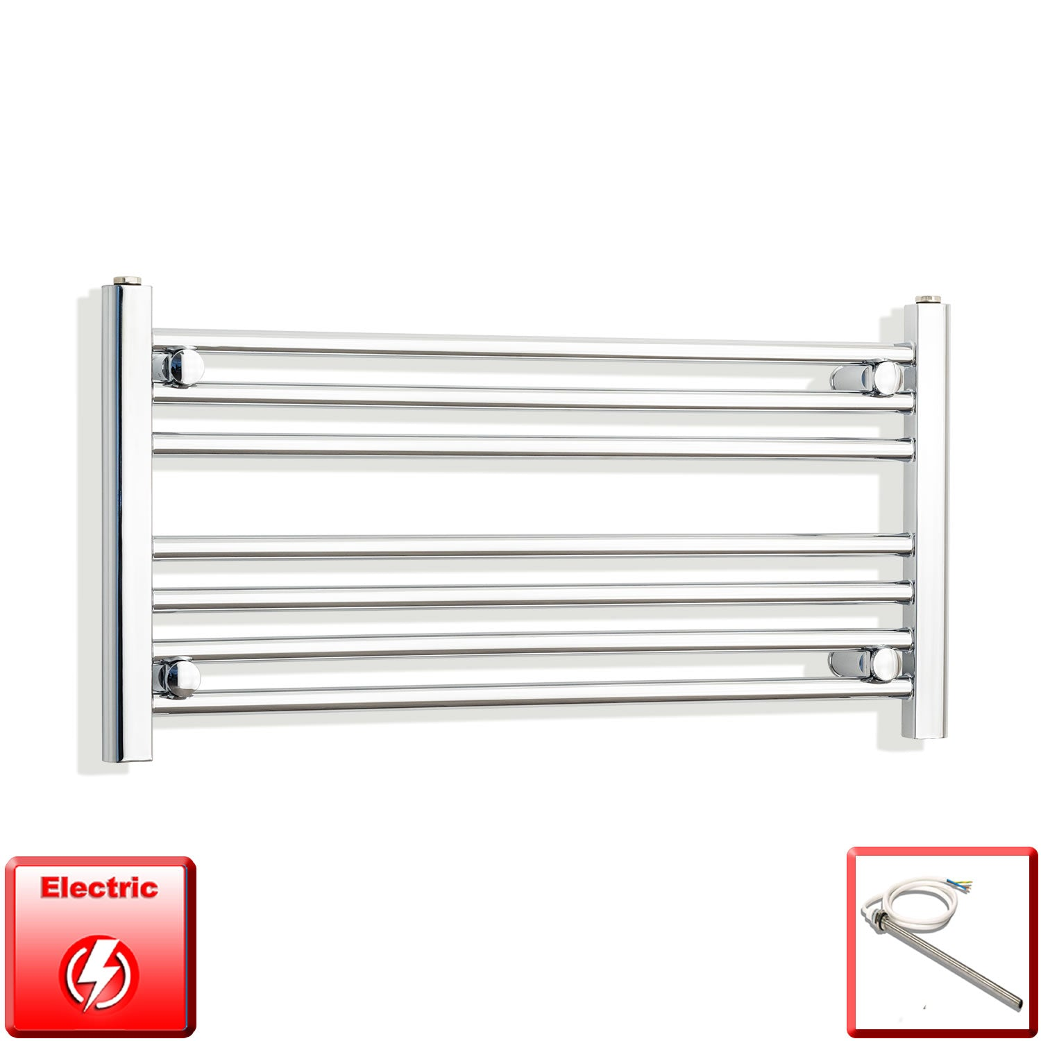 800mm Wide 400mm High Pre-Filled Chrome Electric Towel Rail Radiator With Single Heat Element