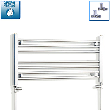 850mm Wide 400mm High Chrome Towel Rail Radiator With Straight Valve