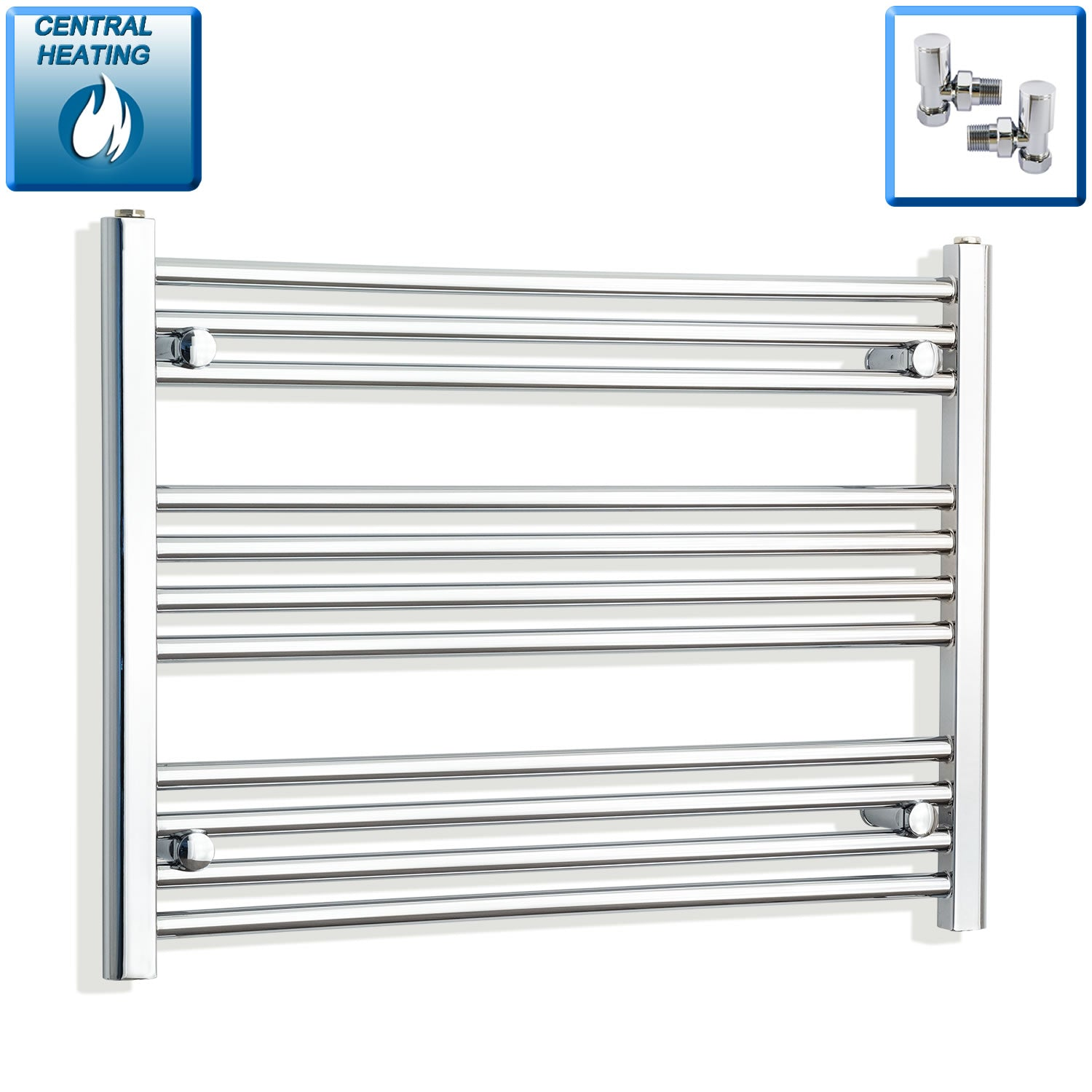 700mm Wide 600mm High Chrome Towel Rail Radiator With Angled Valve