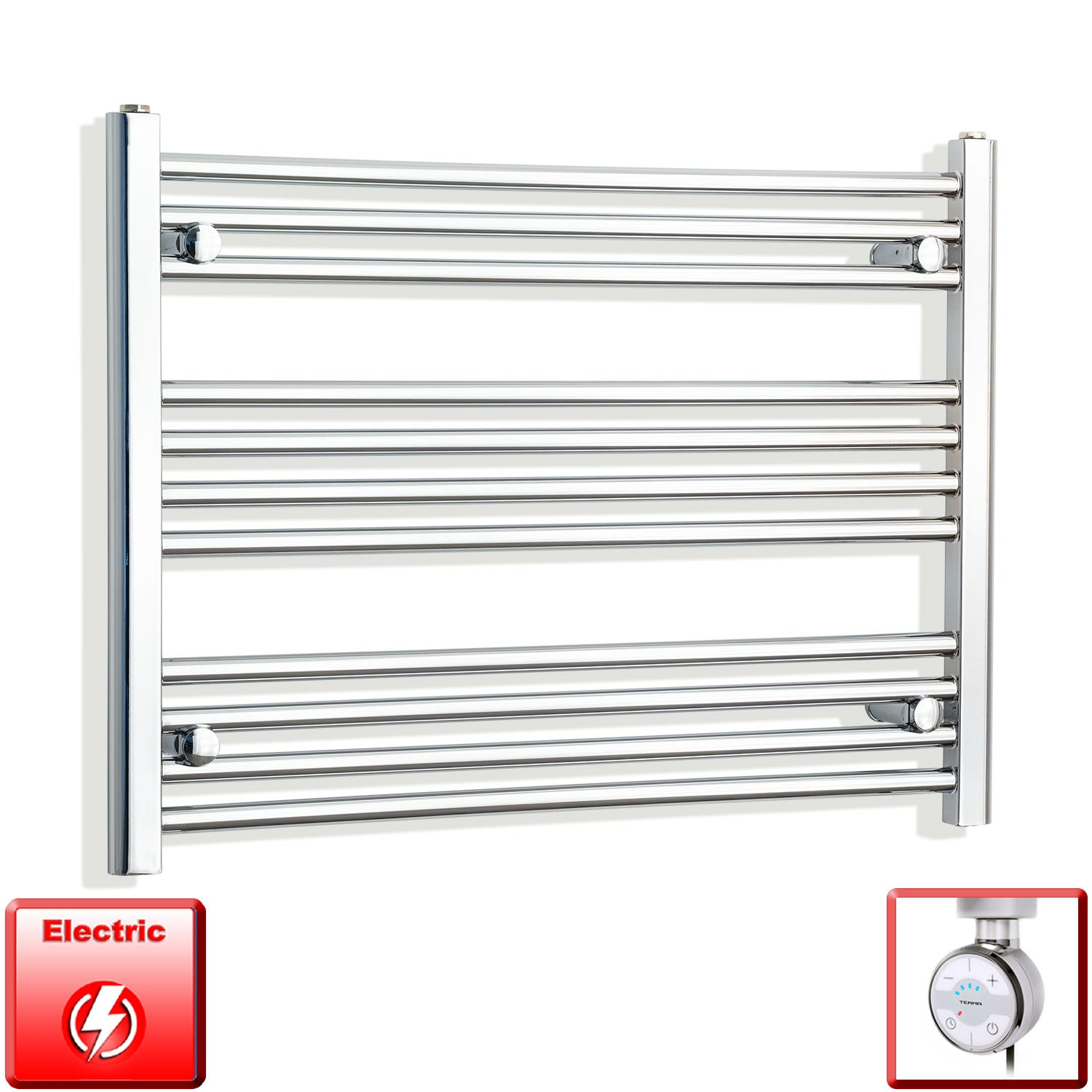 700mm Wide 600mm High Pre-Filled Chrome Electric Towel Rail Radiator With Thermostatic MOA Element