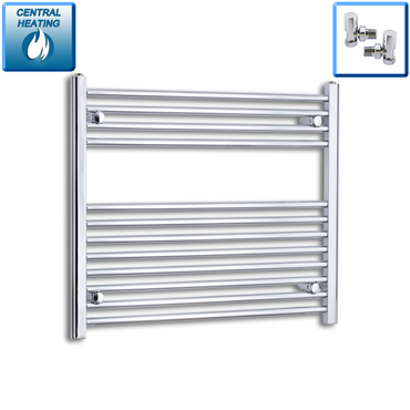 900mm Wide 700mm High Chrome Towel Rail Radiator With Angled Valve