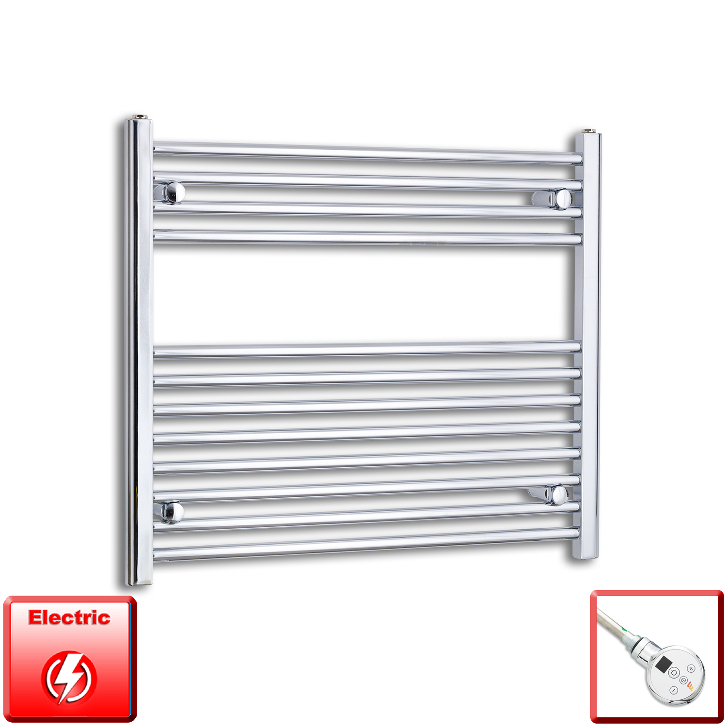 800mm Wide 700mm High Pre-Filled Chrome Electric Towel Rail Radiator With Thermostatic DIGI Element