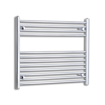 900mm Wide 700mm High Chrome Towel Rail Radiator With Straight Valve