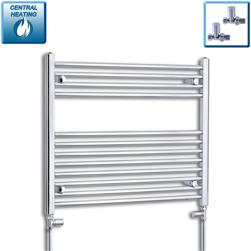 800mm Wide 700mm High Chrome Towel Rail Radiator With Straight Valve