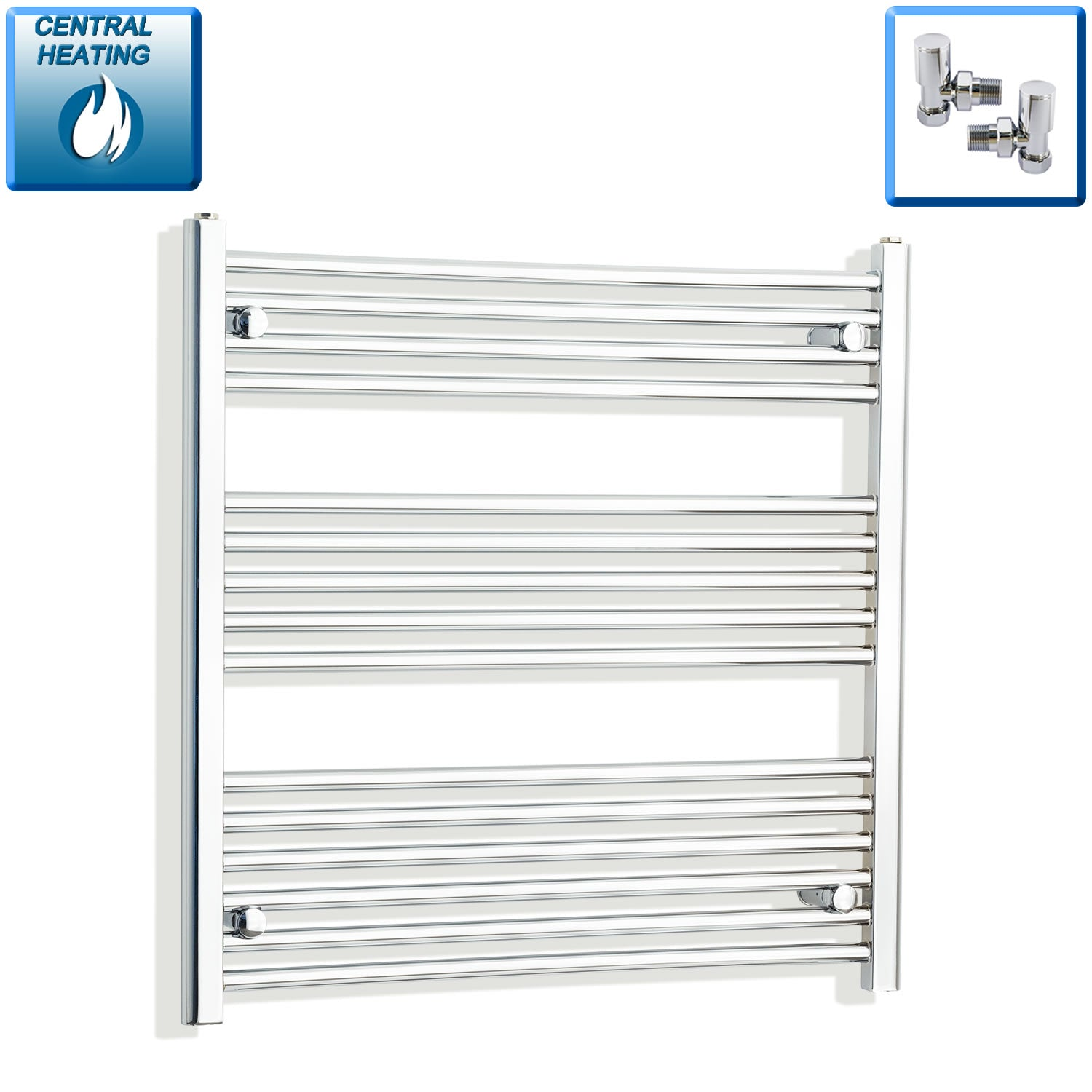 900mm Wide 800mm High Chrome Towel Rail Radiator With Angled Valve