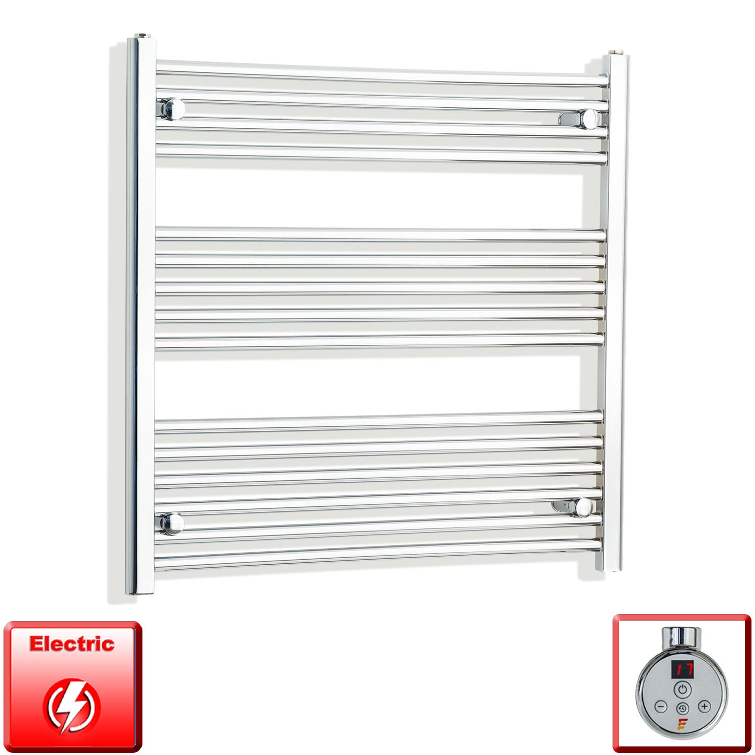 800mm Wide 800mm High Pre-Filled Chrome Electric Towel Rail Radiator With Thermostatic DIGI Element