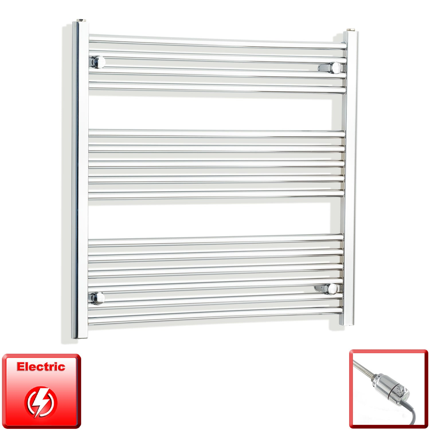 700mm Wide 800mm High Pre-Filled Chrome Electric Towel Rail Radiator With Thermostatic GT Element