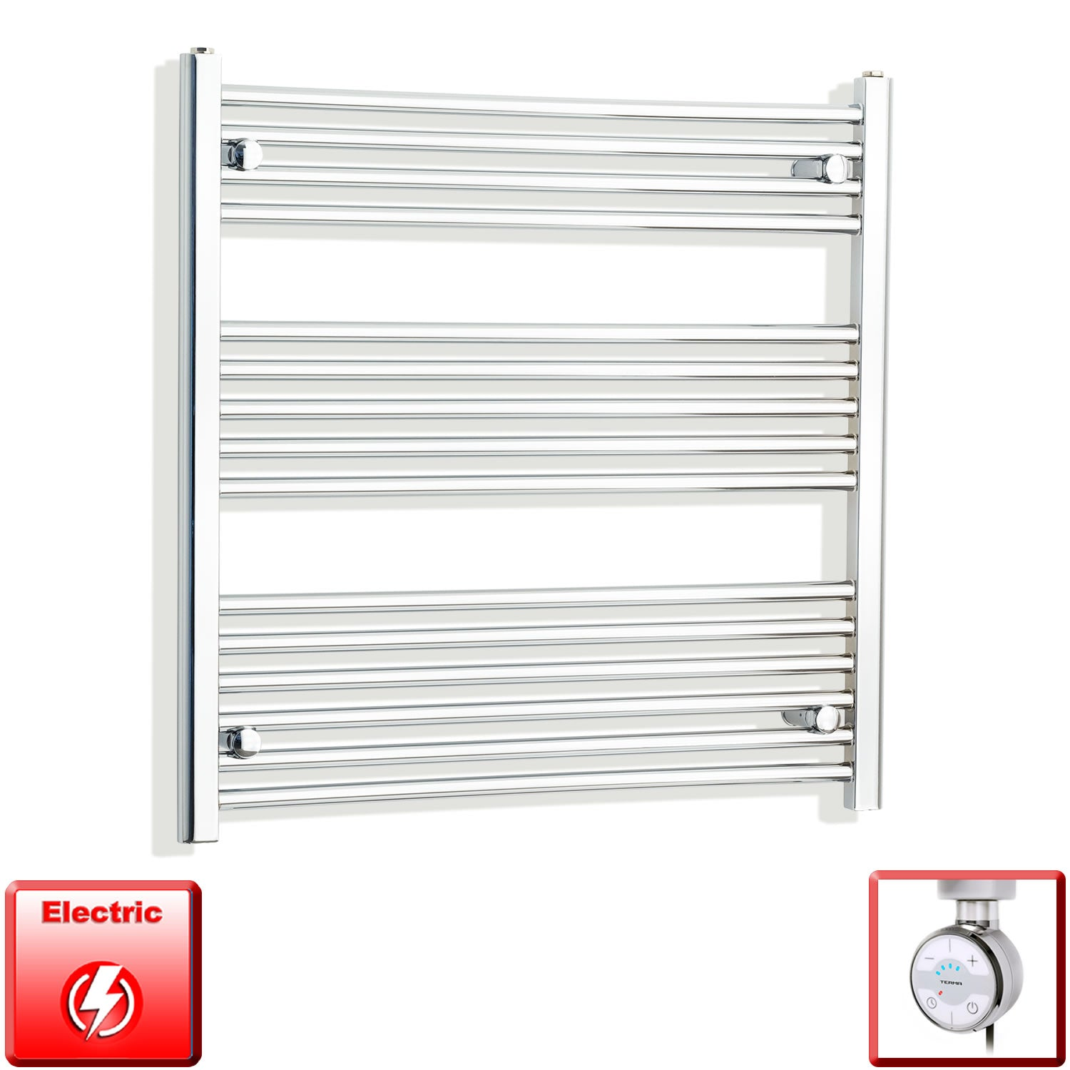 800mm Wide 800mm High Pre-Filled Chrome Electric Towel Rail Radiator With Thermostatic MOA Element