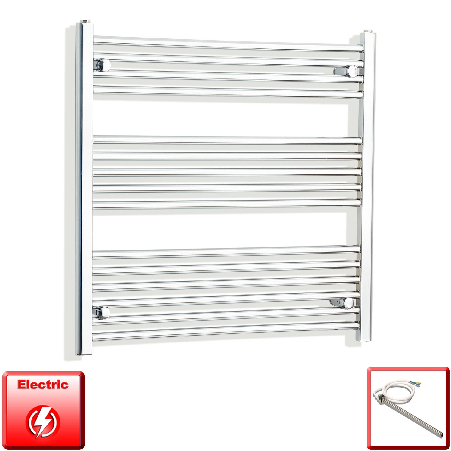 900mm Wide 800mm High Pre-Filled Chrome Electric Towel Rail Radiator With Single Heat Element