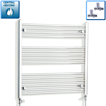 850mm Wide 800mm High Chrome Towel Rail Radiator With Straight Valve