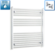 Load image into Gallery viewer, 900mm Wide 900mm High Chrome Towel Rail Radiator With Angled Valve