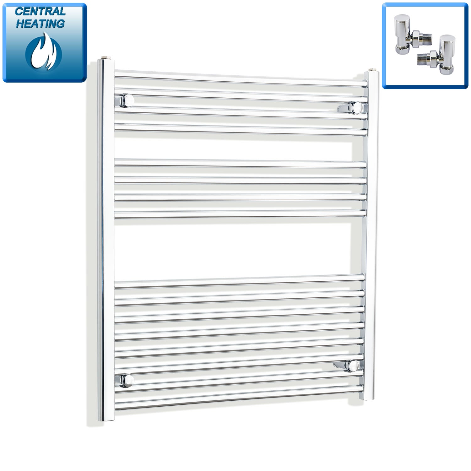 900mm Wide 900mm High Chrome Towel Rail Radiator With Angled Valve