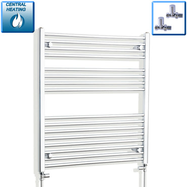 800mm Wide 900mm High Chrome Towel Rail Radiator With Straight Valve