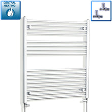 Load image into Gallery viewer, 900mm Wide 900mm High Chrome Towel Rail Radiator With Straight Valve